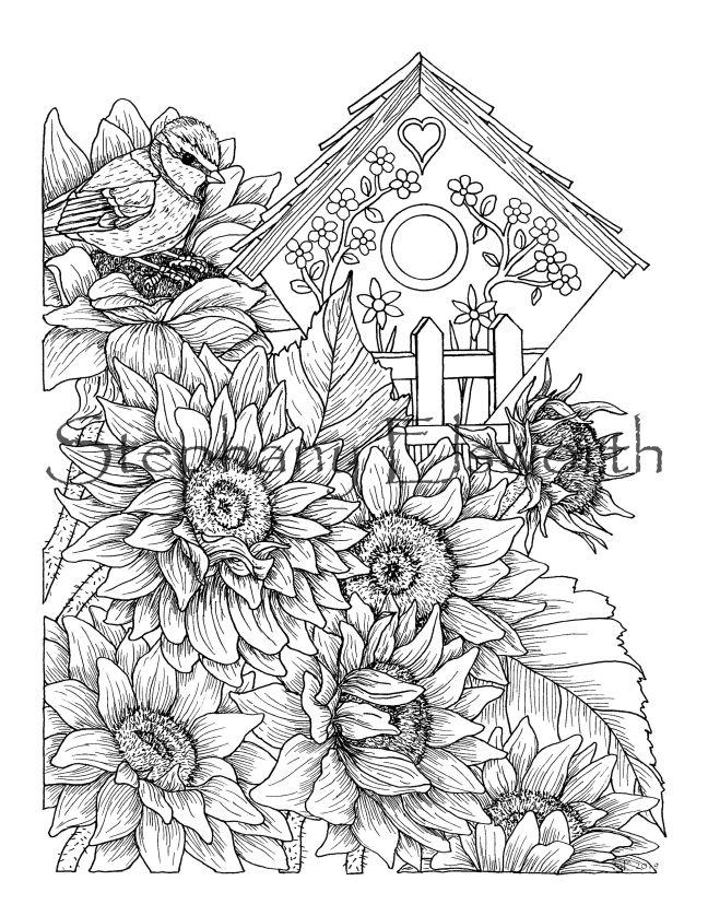 bird house and sunflowers wm JPG