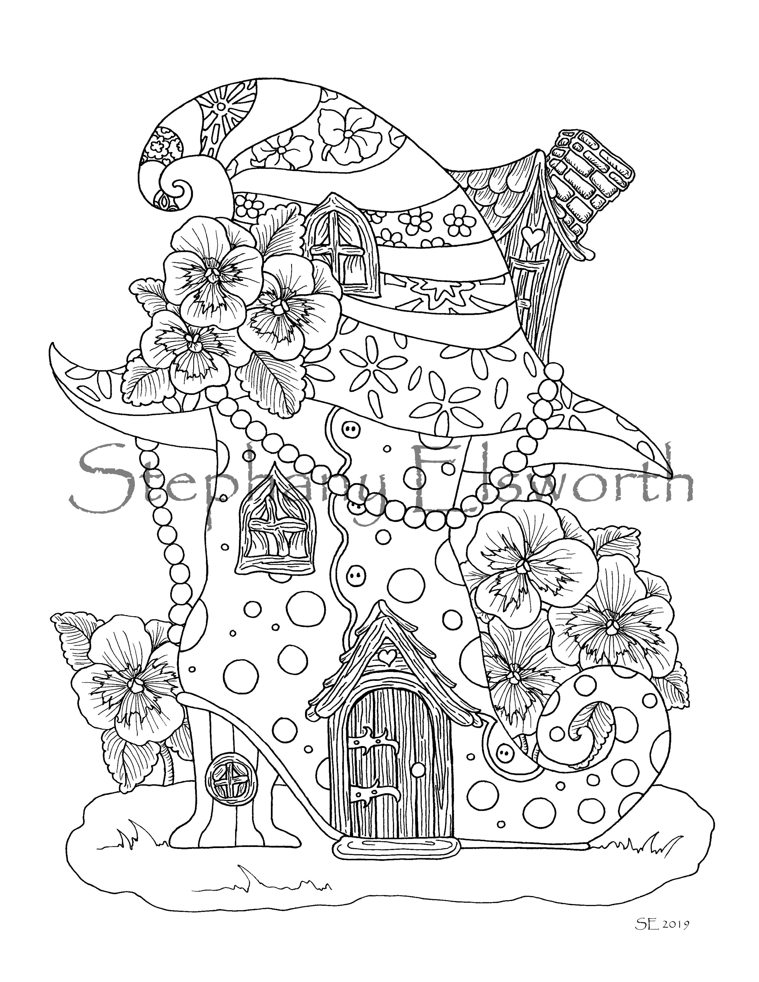 Boot and Witch Hat Fairy House Coloring Page ...