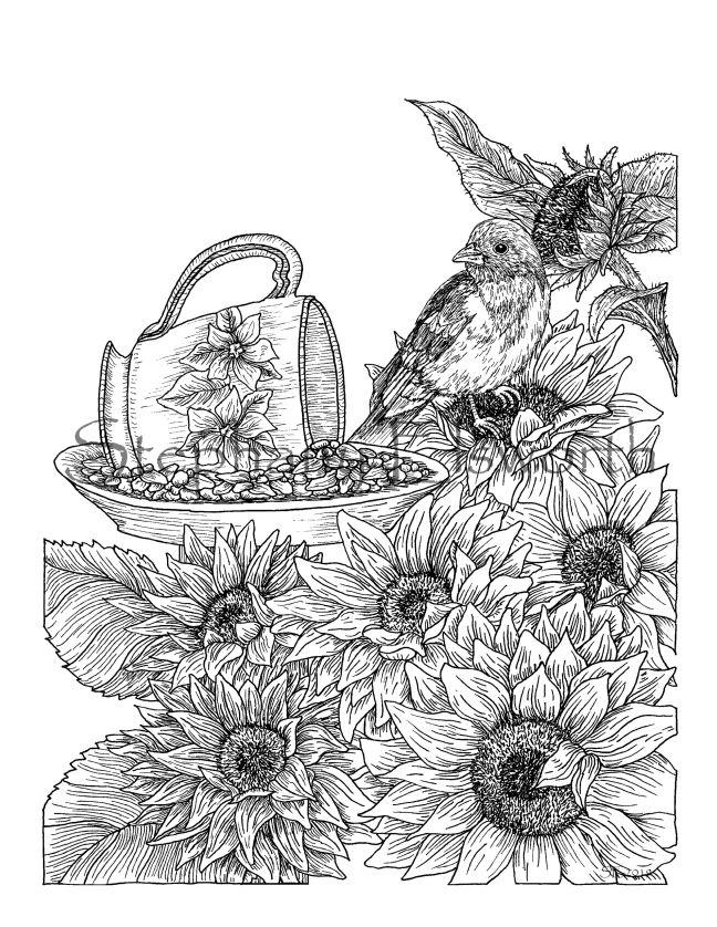 sunflowers and teacup bird feeder wm JPG
