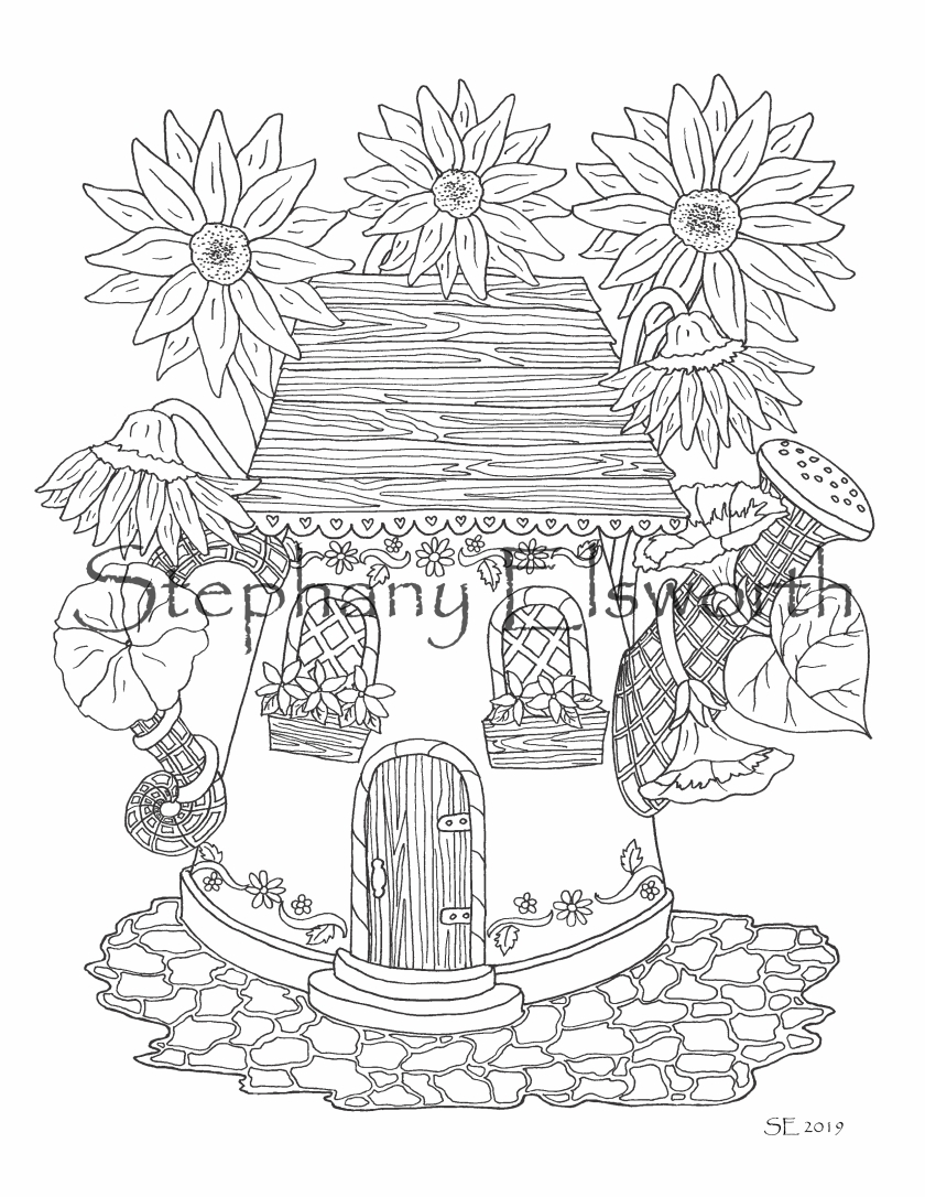 watering can fairy house coloring page – stephanyelsworth